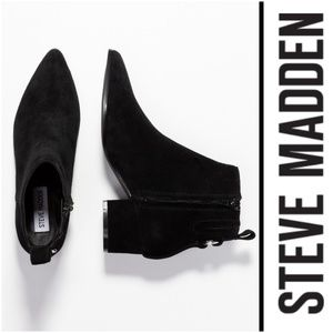 Stylish Steve Madden Black Suede Ankle Boots
